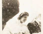 "Vintage Snapshot ""Fertility Rite"" Rice Throwing Wedding Bride Groom Motion Blur Action Found Vernacular Photo"