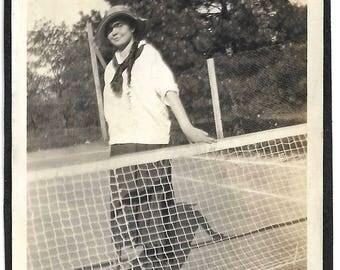 "Vintage Snapshot ""Miller Park 1916"" Tennis Court Woman Tennis Player Handwritten Caption Photographer Shadow Found Vernacular Photo"