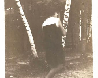 "Vintage Snapshot ""A Walk In The Woods"" Birch Trees Blur Motion Woman Back To The Camera Found Vernacular Photo"