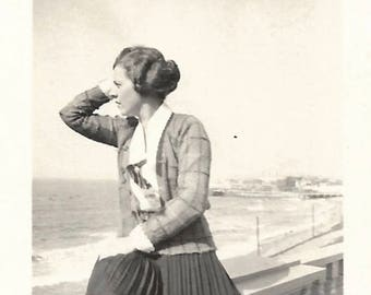 "Vintage Photo ""Lookout"" Young Woman Looks Out To Sea 1920's Small Snapshot Found Vernacular Photo"