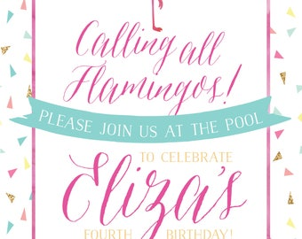 Flamingo Birthday Invitation | Flamingo Invite | Flamingo Shower Invite | Flamingo Printable - 5X7
