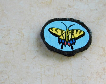 Swallowtail Butterfly, Handpainted Butterfly, Butterfly Magnet, Miniature Art, Decorative Slate, Fridge Magnet, Office Magnet, Nature Art