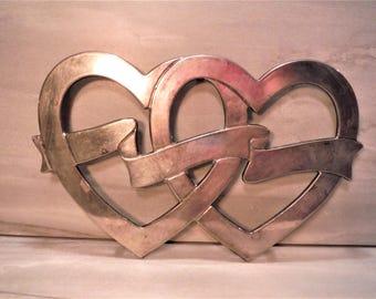 Silver double  heart trivet , wedding decor, monogrammable hearts, hearts and ribbon, wall art, kitchen decor, wedding gift, tarnished heart