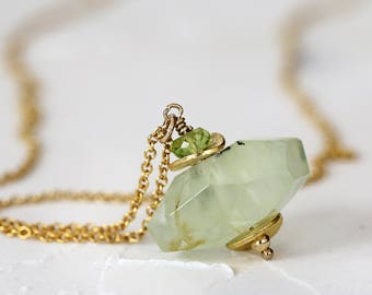 Prehnite Necklace - Natural Gemstone Pendant - Green and Gold Jewellery - Prehnite Jewelry - Healing Necklace - Jewellery for Sisters