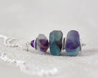 Amethyst & Fluorite Pendant - Stone Stacked Necklace - Raw Fluorite Pendant - Fluorite Stack Necklace - Rainbow Fluorite Jewelry