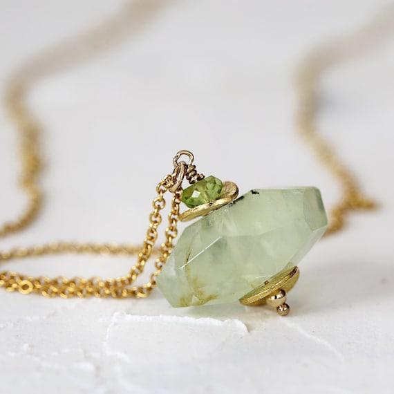 Prehnite Necklace - Natural Gemstone Pendant