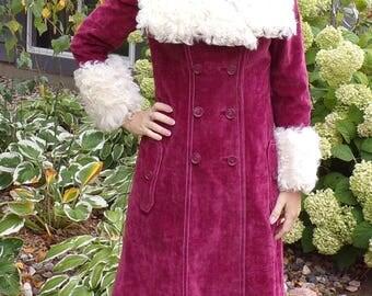 PURPLEY PINK VELVET 1970's 70's trench coat fur trim S