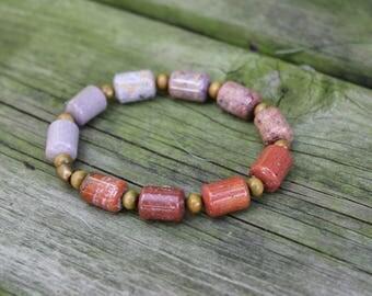 Ocean Jasper Rondell beads and Sandalwood// stretch bracelet // unisex bracelet