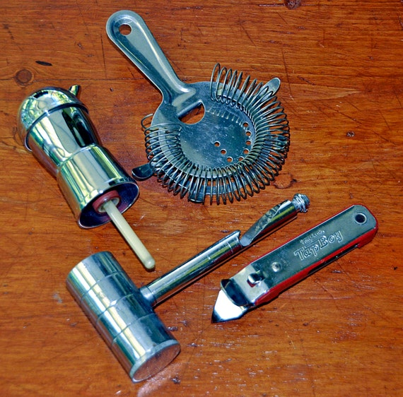 Vintage Four 1950s Assorted Bar Items Jigger Ice Crusher-CorkScrew, Mr Bartender Chrome Bottle Pourer, Strainer, Vaughn's Red TapBoy Opener