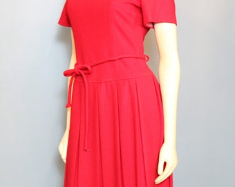 Red Wool Dress, Vintage Wool Dress - Fit and Flare Red Dress, Working girl dress, 1950's dress, 1960's dress
