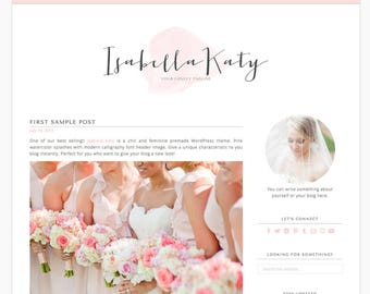 "Wordpress Theme Responsive Blog Design ""Isabella Katy"" - Feminine and clean"