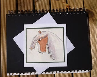Hand drawn watercolour horse card, illustrated pony stationery, horse lovers greetings, original drawing, pen and wash, brown pony, to frame