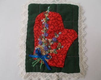 Mitten Quilted Christmas Wall Hanging Hand Appliqued Hand Embroidered