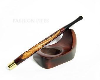 """Vintage Long Cigarette Holder """"SALAMANDRA"""". Wood Hand Carved Cigarette Holders LONG 6.7'' / 170 mm Fits Regular Cigarettes"""