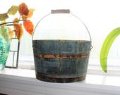 Antique Wood Bucket w/ Bale Handle Blue Firkin Rustic Farmhouse Decor