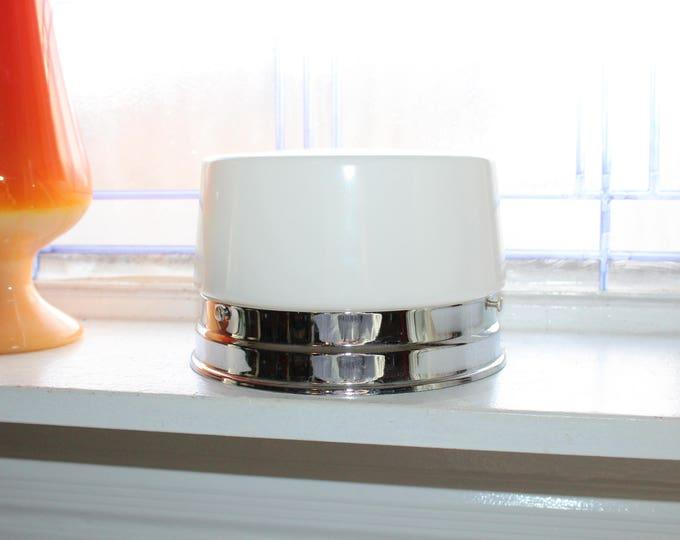 Vintage Mid Century Ceiling Light Fixture Milk Glass Shade 1950s