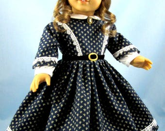 1860s Civil War Era Dress - 18 Inch Doll Clothing - Fits American Girl - Navy Blue and Tan