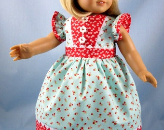 18 Inch Doll Clothes - Aqua and Red Dress and Bow - Fits American Girl Dolls - Doll Dress and Hair Bow - Maryellen - 18 Inch Doll Clothing