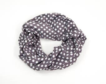 Polka Dot Scarf, Grey Scarf, Polka Dot Infinity Scarf, Retro Scarf, Gray Circle Scarf Womens Gift Adult Scarf Sister Gift for Her Girlfriend
