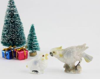 Vintage Miniature Cockatoo Bird with Baby Figurines - Ceramic Mini Parrot Bird Terrarium Figurines