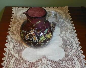 Victorian Amethyst Purple  PITCHER Cobalt hand painted enamel daisy Antique Art Glass Reeded applied handle