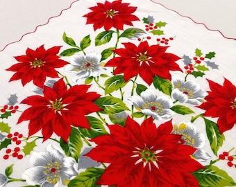 1960s Vintage Red Poinsettias Printed Christmas Handkerchief