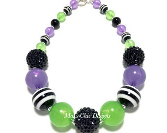 Toddler or Girls Halloween Chunky Necklace - Orange, Green, Black and Purple Chunky Necklace - Zombie Necklace - Monster Necklace - Neon