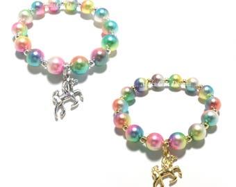 Toddler or Girls Small Beaded Rainbow Unicorn Charm Bracelet - Gold Unicorn Bracelet - Silver Unicorn Bracelet - Rainbow Unicorn Birthday