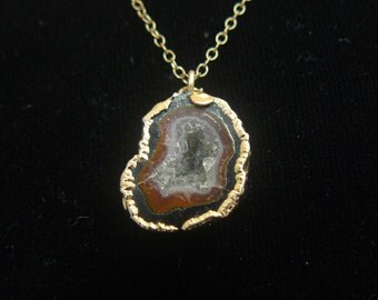 Gold Plated Agate Quartz Crystal Geode Pendant GF 1/20 12 Kt Chain