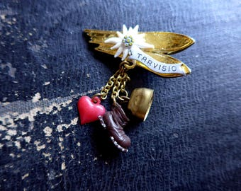 Super Cute 1950's 1960's Souvenir Brooch from Tarvisio, Skis, Edelweiss Flower, Heart, Bell and Shoe