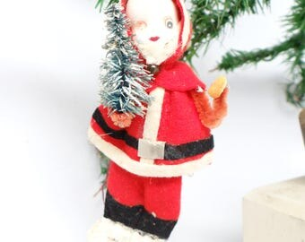 Vintage 1960's Santa Ornament,  holding Christmas Tree
