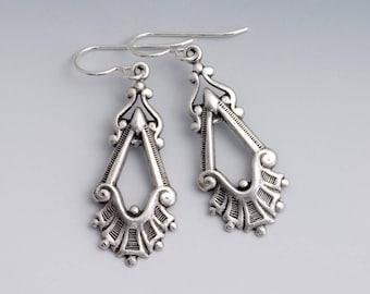 Antiqued Silver Earrings, Victorian Drop Earrings, Silver Metal Earrings, Antiqued Brass Victorian Earrings, Dangle Earrings Brass, Traci