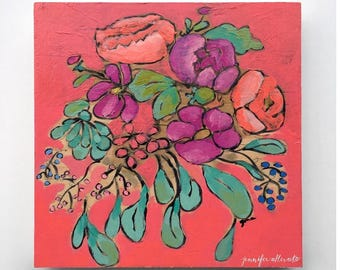 Colorful modern floral bouquet painting flower wall art