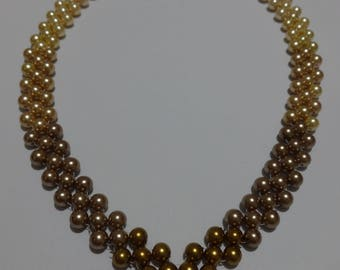 Handmade Earth Tones Pearls  Necklace