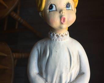 Vintage Tall Japan Caroler Blonde Girl Angelic Singing Figurine Christmas Figurine Label Made in Japan Holiday Decor