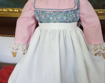 "Pink and blue colonial dress with Apron fit AG or 18"" doll"