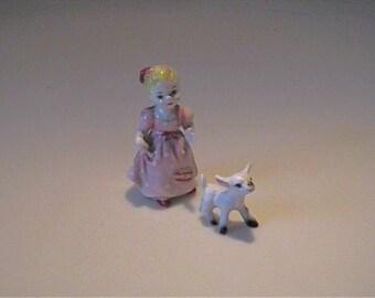 Vintage 1960's miniature bone china nursery rhyme Mary had a little lamb
