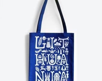 LITHUANIA Blue Tote Bag - Blue White Print, Shopping Bag, Vilnius, Lithuanian, Christmas Gift Idea, Blue gift idea, Blue Bag, White Print