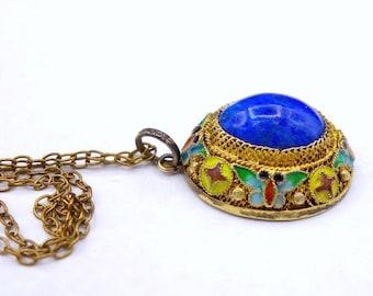 Lapis Enamel Pendant, Vintage Chinese Export Lapis Pendant,