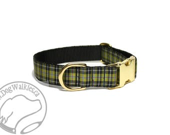 """Cornish National Tartan Dog Collar - 1"""" (25mm) Wide - Gold and Black Plaid - Matingale or Side Release Buckle - Choice of size & style"""
