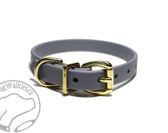 "NEW- Stormy Gray - 5/8"" (16mm) Wide  - Beta Biothane Dog Collar - Leather Look and Feel - Custom Size - Stainless  or Brass Hardware"