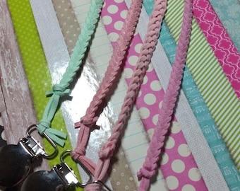 Pacifier Clip, Braided Pacifier Clip, Braided Suede Pacifier Clip, Soothie Clip, Binky Clip, Pacifier Holder, Baby Girl, Baby Shower Gift