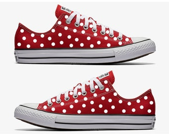 Red Converse Hand Painted with White Polka Dots