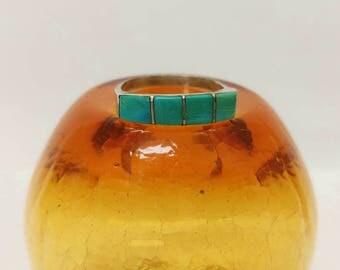 Rustic Vintage Turquoise Stone Ring- Size 6 Handmade Primitive Southwest Pinky or Midi Ring Boho Hippie Minimalist Alpaca Silver Festival