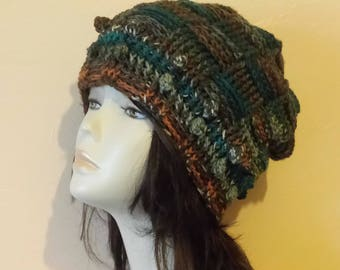 Crochet Boho Beanie Hat, Basketweave Hat, Slouch Beanie Hat, Textured Hat, FREE UK DELIVERY