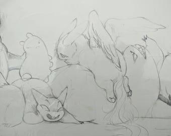 original art - lazy little monsters