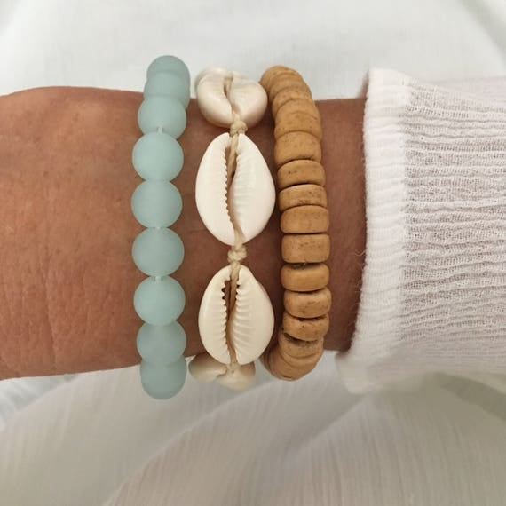 beach jewelry, mermaid bracelet stack, gift for her