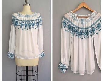 Folklore Blouse | 1930s Romanian embroidered blouse | vintage 30s peasant shirt | s - m