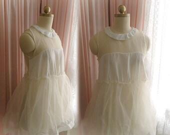 Cute Sheer shoulder and back peter pan collar organza lace ffles Beige Blosue Top sleeveless tutu puff ballerina top Great Gatsby