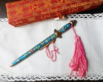 Blue Cloisonne Enamel Sword Letter Opener with Pink Satin Tassel, Japanese Samurai Sword Letter Opener